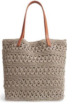 Nordstrom Packable Raffia Crochet Tote - Bag and Purse Free Crochet Bag, Crochet Shell Stitch, Crochet Clutch, Crochet Handbags, Crochet Purses, Bead Crochet, Diy Crochet, Crochet Chart, Crochet Ideas