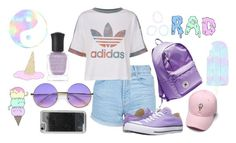 """""""Wear Pastels in the Summer, Too"""" by bandsvansandsodacans ❤ liked on Polyvore featuring Topshop, adidas Originals, ZeroUV, Deborah Lippmann, Converse and LMNT"""