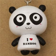 excited I love bamboo panda bear wooden phone strap