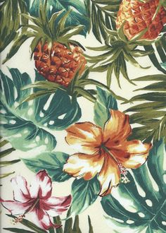 Hala Kea Cotton Apparel Fabric - Barkcloth Hawaii Fabrics - Vintage Style Hawaiian Fabrics A Pineapple motif fabric pattern.