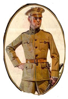 Publication unknown Illustrated by JC Leyendecker Year unknown American Illustration, Illustration Art, Character Illustration, The Arrow, Jc Leyendecker, Traditional Paintings, Norman Rockwell, Military Art, Military Uniforms