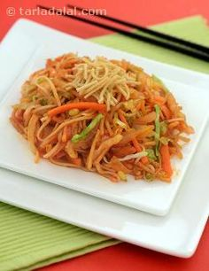 A delightful preparation of crispy noodles served with vegetables and a tangy sauce. This recipe is not an authentic chinese one, but an invention of chinese restaurateurs in western countries. One of the literal translations of this recipe means 'savoury mess'.