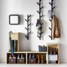 Avoid entryway clutter with open storage boxes for shoes and racks for hats and . Avoid entryway clutter with open storage boxes for shoes and racks for hats and jackets. Diy Coat Rack, Coat Racks, Coat Rack With Shelf, Wall Coat Rack, Clothes Hanger, Entry Coat Rack, Tree Coat Rack, Coat Tree, Home Decor Ideas