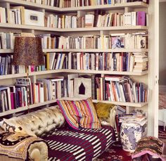 Books + velvet = happy place.