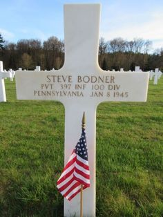 Private Steve Bodner U.S. Army Unit 397th Infantry Regiment, 100th Infantry Division Entered Service From: Pennsylvania Service # 33950077 Date of Death: January 8, 1945 World War II Buried: Plot B Row 39 Grave 32 Epinal American Cemetery Dinozé, France