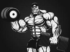 Bodybuilder with dumbbell Bodybuilding Logo, Bodybuilding Pictures, Bodybuilding Motivation, Big Muscle Men, Strongest Animal, Gym Logo, Happy Birthday Images, Fantasy Warrior, Photoshop Design