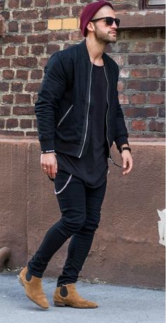 It shows a man wearing mainly black clothing with light brow leather shoes and a red woollen hate which to me is not normally a colour scheme put together and because of this it is interesting because shows individuality.