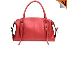Women's Real Cowhide Leather Dress Handbags Shoulder Bags Coreal Red CW233315 $168.69 - www.cwmalls.com