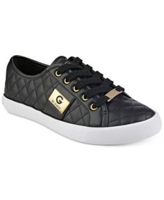 G By Guess Backer Lace-Up Quilted Sneaker. G by GUESS adds shine to a chic quilted pattern with the metallic hardware accents on these street-savvy Backer sne… Black Sneakers, Shoes Sneakers, Metallic Sneakers, Sneakers Adidas, Sneakers Fashion, Fabric Shoes, Guess Shoes, Womens High Heels, Pumps Heels