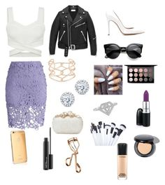 """""""Purple to go style"""" by daisygirl-362 ❤ liked on Polyvore featuring Chicwish, Gianvito Rossi, Yves Saint Laurent, Alexis Bittar, Kobelli, Alexander McQueen, Goldgenie, MAC Cosmetics and Tweezerman"""