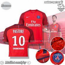Ensemble Nouveau Pastore 10 Maillot Foot PSG Rouge 2016-2017 Exterieur | Maillots-Sport