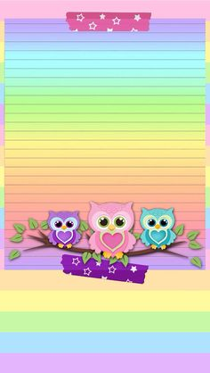 Rainbow colors = LOVE to the power of The owls are cute. Cute Owls Wallpaper, Hello Kitty Wallpaper, Animal Wallpaper, Cute Wallpapers, Wallpaper Backgrounds, Iphone Wallpaper, Owl Background, Graffiti Kunst, Borders For Paper
