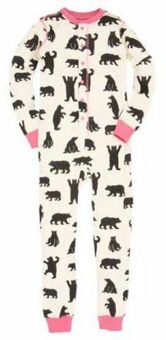 "Hatley+Girl's+Union+Suit+Pink+Bears+""A+Little+Bear+Bum""+Onesie+on+shopstyle.co.uk"