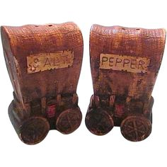 Vintage Set of Salt and Pepper Shakers Covered Wagon Style from treasureinearthenvessels on Ruby Lane
