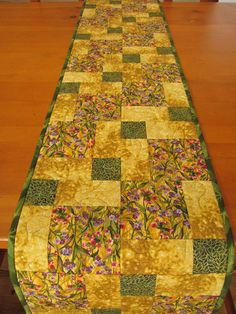 Handmade Table Runner Quilted Golden Color via Etsy