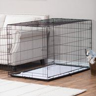 Vibrant Life Double Door Folding Wire Dog Crate With Divider 36 L Walmart Com Wire Dog Crates Dog Crate Wood Dog Crate