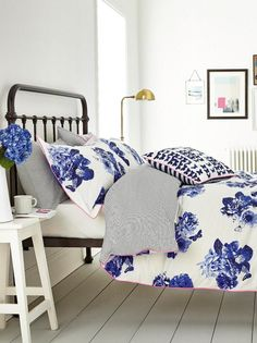 Featuring an eye-catching butterfly print, this cotton duvet really brings a burst of spring to the bedroom. The reverse features a navy stripe that provides a stunning contrast. Boudoir, Floral Cushions, Floral Bedding, Double Duvet Covers, Spare Room, My New Room, Luxury Bedding, Decoration, Interior Design
