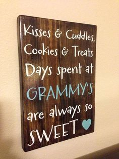 Personalized Wood Sign Mother/Grandmother Kisses by aubreyheath Personalized Wood Signs, Cuddles, Adult Crafts, Kisses, Fathers Day, Amp, Etsy, Gifts, Ideas
