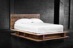 Platform bed with storage from reclaimed hardwood
