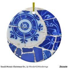 Ornamento del navidad del mosaico de Gaudi Adorno Navideño Redondo De Cerámica