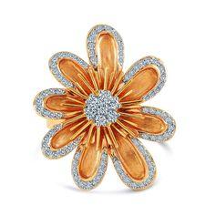 14k Rose Gold 1/2ct TDW Flower Ring (VS1-VS2, G-H) (Size - 5.50), Women's, Size: 5.5, White (floral)