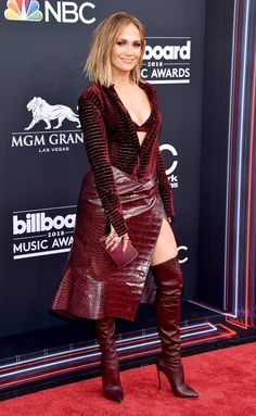 Jennifer Lopez Looks So Hot on BBMAs 2018 Red Carpet!: Photo Jennifer Lopez looks so hot on the red carpet at the 2018 Billboard Music Awards held at the MGM Grand Garden Arena on Sunday (May in Las Vegas. Billboard Music Awards, Sexy Outfits, Celebrity Dresses, Celebrity Style, Red Leather Boots, Leather Skirt, Sexy Boots, Red Carpet Looks, Red Carpet Dresses