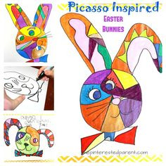 Here is a fun and funky Easter project for art lovers. My daughter and I had fun making these Picasso inspired Easter bunnies. Use paints, markers, gel pens or crayons to make your Easter bunnies. Easter Arts And Crafts, Halloween Arts And Crafts, Arts And Crafts For Teens, Art Projects For Teens, Easter Projects, Art For Kids, Fun Crafts, Lapin Art, Bunny Painting
