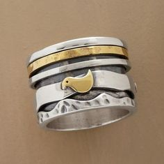 Our hand cast sterling silver ring's borders rein in three spinning rings, one of brass another home to three brass doves. Exclusive. Whole sizes 5 to 10. 9/16