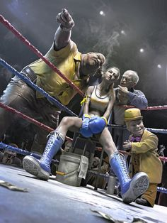 """""""Fight in the dark"""" by Guang Yang (Software used: Maya, MentalRay, Mudbox, ZBrush). I like the artwork done here. Comic Kunst, Comic Art, Zbrush, Poses Dynamiques, Bd Pop Art, Creation Art, Arte Cyberpunk, Boxing Girl, Women Boxing"""