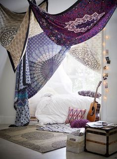 Printed Tapestries Drape your dorm. An easy way to add design to your home-away-from-home, this tapestry hangs from the wall to showcase your style.