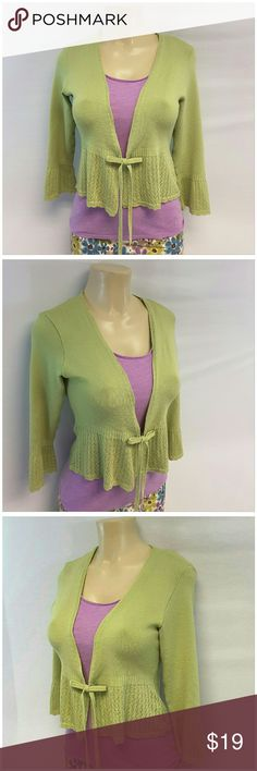"""CAMILLE LA VIE Crochet Knit Cardigan size Large CAMILLE LA VIE, Crochet Knit Cardigan, size Large See Measurements, self-tie, short waist length, crochet ruffly around hem and sleeve cuffs, very stretchy, 95% acrylic, 5% spandex, approximate measurements: 20"""" length shoulder to hem, 15"""" bust laying flat, 19"""" sleeves, 16"""" width shoulder seam to shoulder seam. Green Cardigan Only in this listing. Pink Top and skirt not included. ADD TO A BUNDLE! 20% BUNDLE DISCOUNT Camille La Vie  Sweaters"""
