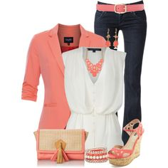 Coral Accents by maggie478 on Polyvore featuring French Connection, mbyM, Hudson Jeans, Charlotte Russe, Danielle Nicole, Daytrip, ALDO, Kenneth Cole and White House Black Market