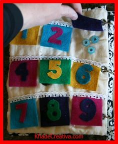 KhadeCreativa.com quiet book page idea... numbers with flaps with buttons underneath. So cute, would love to make this for my besties baby (if only I could finish my other projects first lol) source by :http://pinterest.com/pin/460493130623654424/