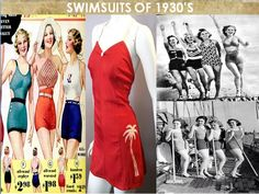 THE SWIMSUITS OF 1930. In the 1930s sun bathing became more popular as an expensive recreation. Athletic swimming and synchronised swimming was also very popular at that time. The suits reflect the need to show more skin to sun and be more streamlined for water sports. Belted mail lots were popular with boy cut legs or slim skirts.the exposed v-neck was invented and a few daring ladies even exposed their midriffs with the first bikinis .
