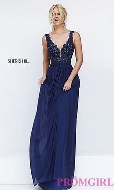 Long V-neck Sherri Hill Gown with Embroidered Top at PromGirl.com