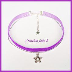 Collier Chocker/ Ras de cou violet avec Etoile
