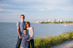 Emily and Kyle's Engagement  Family Photos Edgewater, downtown, skyline  Cleveland, Ohio © audrey tyler jones