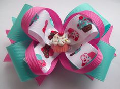 Pink and Blue Cupcake Boutique Hair Bow - Baby, Toddler, Girls Hair Bow. $6.50, via Etsy.