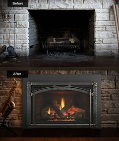 Heat & Glo fireplace inserts can transform an existing traditional masonry fireplace into a beautiful and efficient heat source, without a major renovation. Traditional Decor, Traditional Kitchen, Traditional House, Fireplace Inserts, Fireplace Mantle, Indoor Outdoor, Gas Insert, River House, Old Wood