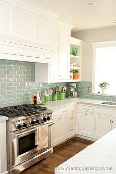 blue green subway tile in white kitchen. I love colored glass subway tile Kitchen Redo, Kitchen And Bath, New Kitchen, Kitchen Remodel, Kitchen Cabinets, Kitchen White, Kitchen Country, Kitchen Countertops, Aqua Kitchen