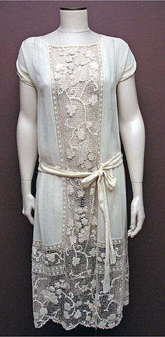 Vintage 1920s Ivory Cotton and Handmade Lace Dress SZ M/L