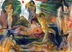 Naked Figures and Sun Edvard Munch - 1924-1925