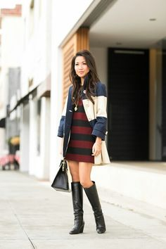 Stripes coat with stripes dress.perfect match.
