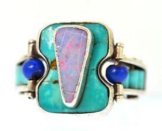 Turquoise, opal, and lapis lazuli