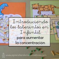 Empezar a jugar con laberintos en infantil ayudarán al niño a mejorar su concentración y capacidad de orientación en el espacio. Family Guy, Mindfulness, Kindergarten, Math, Books, Kids, Fictional Characters, 5 Year Olds, Primary School
