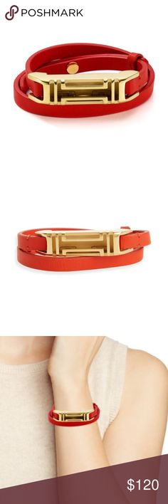 """tory burch // fitbit double-wrap leather bracelet NWT exclusive collaboration between Tory Burch and Fitbit. Transform your Fitbit Flex 2 tracker into a super-chic accessory with the Double-Wrap Bracelet. Featuring a smooth leather strap, it's lightweight, versatile and effortlessly tomboy.    The Fitbit Flex 2® tracker is sold separately.    Leather and stainless steel  Length: 15"""" (38.1cm)  Height: .5"""" (1.27cm)  Notched closure Tory Burch Jewelry Bracelets"""