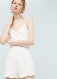 $39 Wrap neckline jumpsuit -  Women | MANGO USA