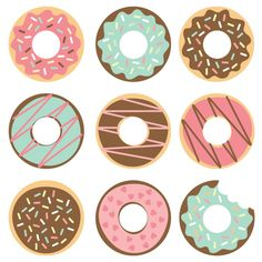 Donut Cut Files + Clip Art - Freebie Friday - Tarjetas Donut Cut Files + Clip Art – Freebie Friday Celebrate National Donut Day (or any day!) with these free donut SVG / DXF cut files and PNG clip art! Nine yummy designs for all of your projects. Donut Party, Donut Birthday Parties, Cake Birthday, Diy Donuts, Cute Donuts, Doughnuts, Donut Images, Birthday Cake Illustration, Tarjetas Diy