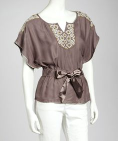 Take a look at the Illa Illa Mocha Embroidery Peasant Top - Women on today! Peasant Tops, Mochi, Cute Tops, Passion For Fashion, Vintage Inspired, Taupe, That Look, Rompers, Embroidery