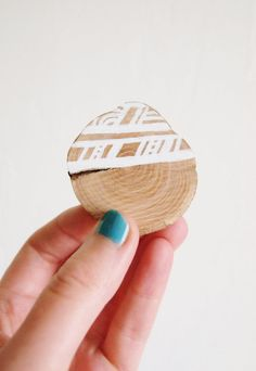 White Wooden Brooch  Hand Drawn Geometry by HORD on Etsy